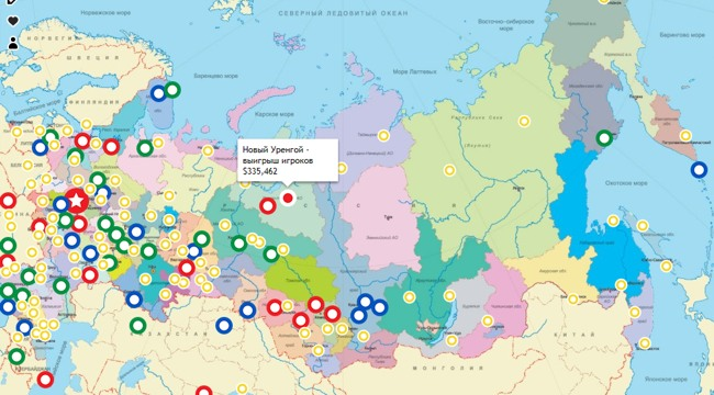 Карта победителей в казино Голдфишка - статистика по городам СНГ